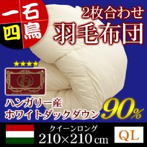 2枚合わせ羽毛布団(フランス産ホワイトダックダウン90%)クイーンロング/キナリ