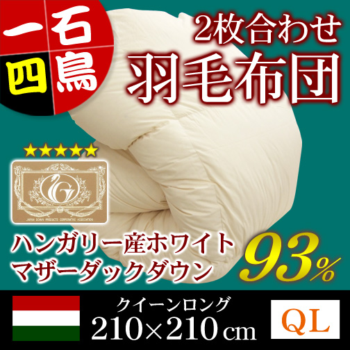 ポーランド産ホワイトマザーダックダウン93%2枚合わせ羽毛掛布団クイーンロングキナリ