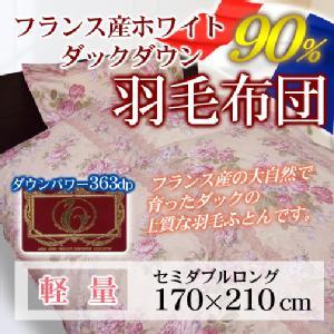羽毛布団【アムール】フランス産WDD90%[セミダブルロング/標準量]日本製羽毛掛けふとん/ホワイトダックダウン